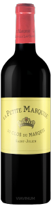 Complementary view of the bottle of La Petite Marquise 2016. To buy this wine or to see the file, click on the image