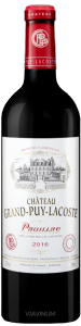 Complementary view of the bottle of Château Grand Puy Lacoste 2016. To buy this wine or to see the file, click on the image
